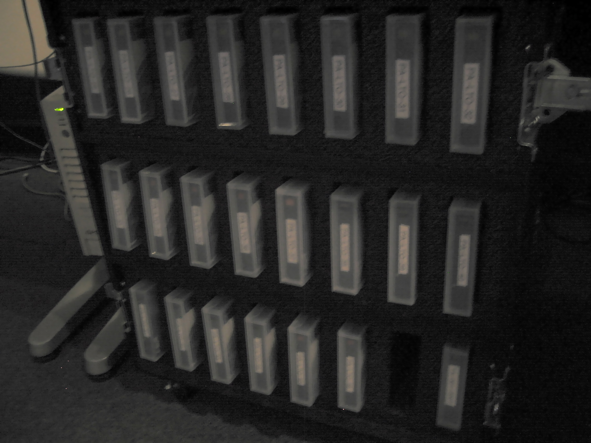 Our ever growing collection of filled LTO tapes.